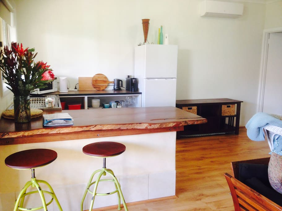 Kitchenette, with microwave, induction hotplate,electric frypan, toaster,kettle,coffee machine, fridge.