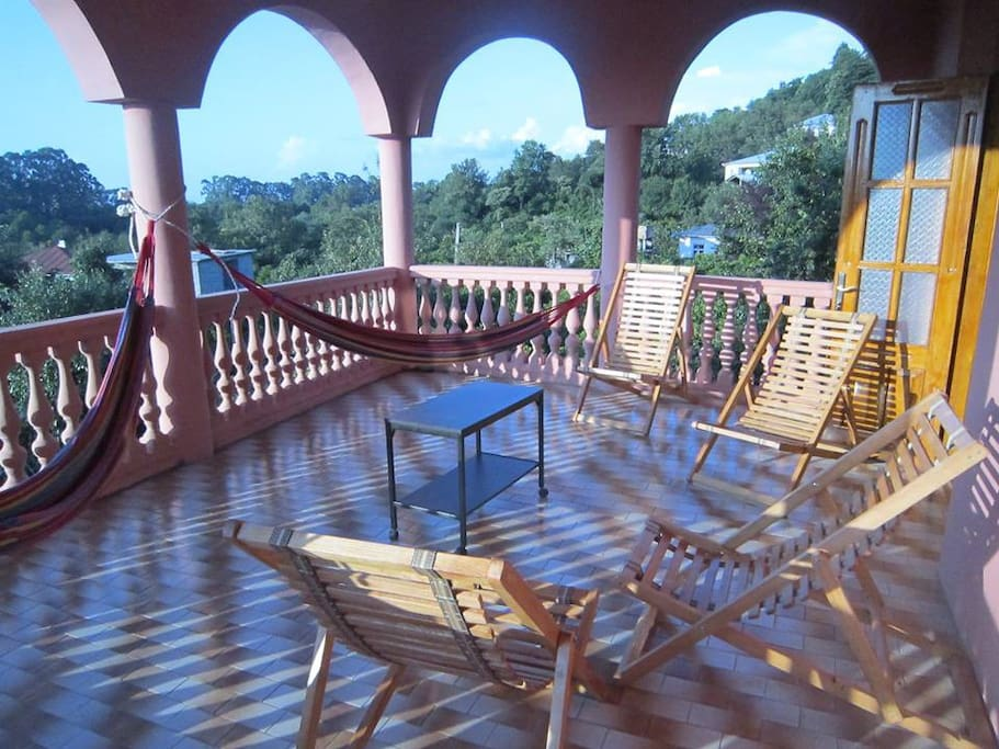3rd floor terrace with nice view, hammocks and good air