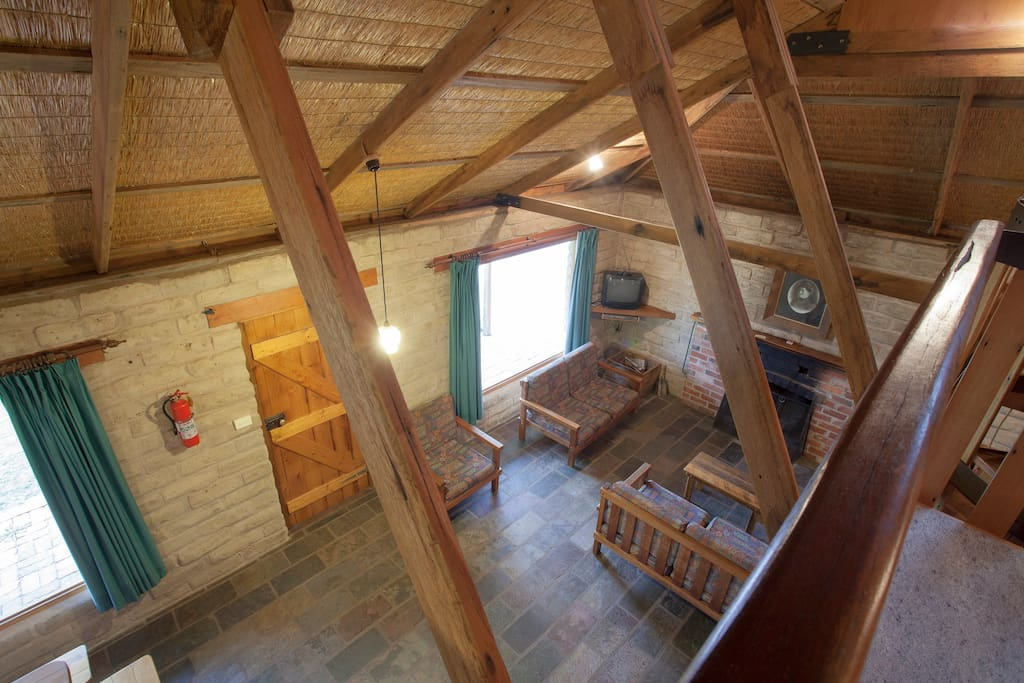 Main living space in the Mudbrick Cottage