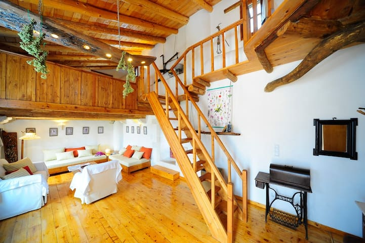 From the veranda you access the upper floor living room with the mezzanine