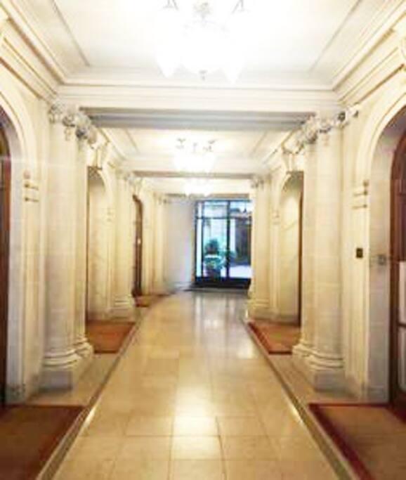 The main building entrance