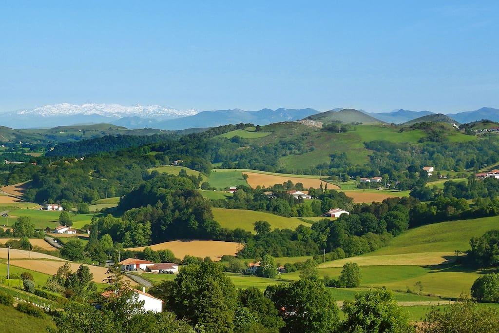 Vue sur la chaîne des Pyrénées depuis la terrasse.