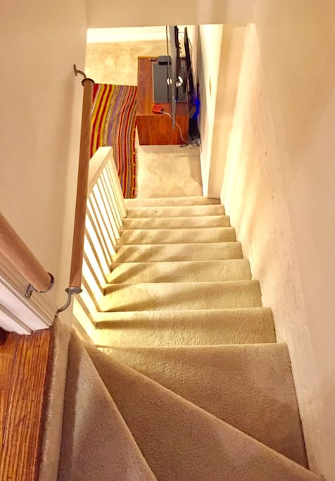 Stairs down to basement (note guardrails)