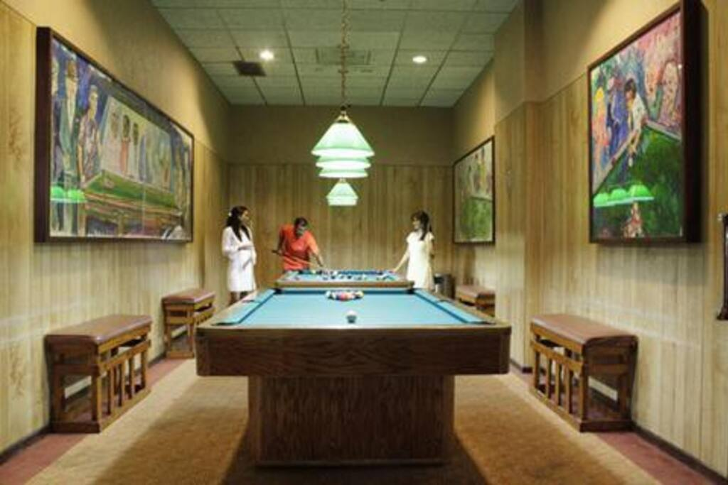 Billiards room located in the lobby