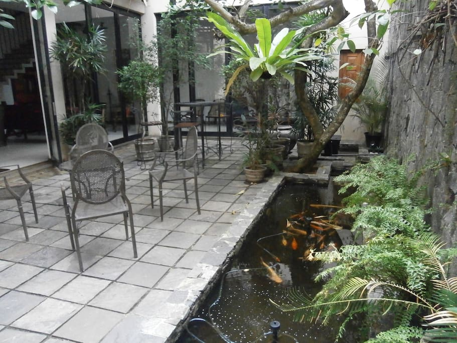 Continuation of the beautiful courtyard with it's colourful fish Pond...!