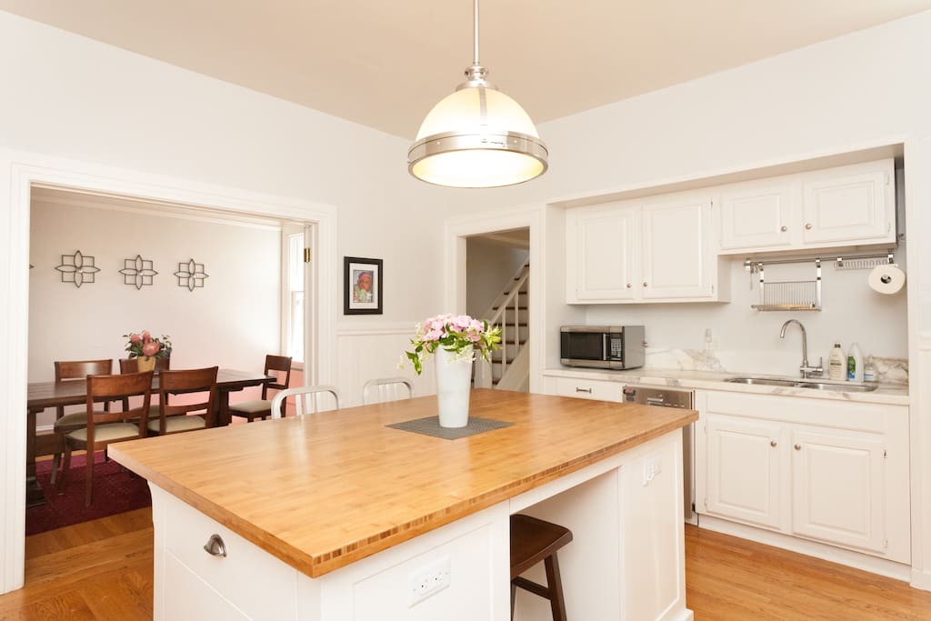 Great kitchen with island and open to the dining room.