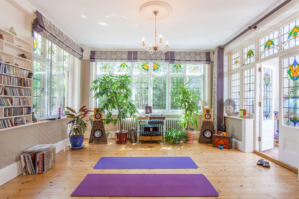 Beautiful and spacious Yoga studio for Yoga participants.