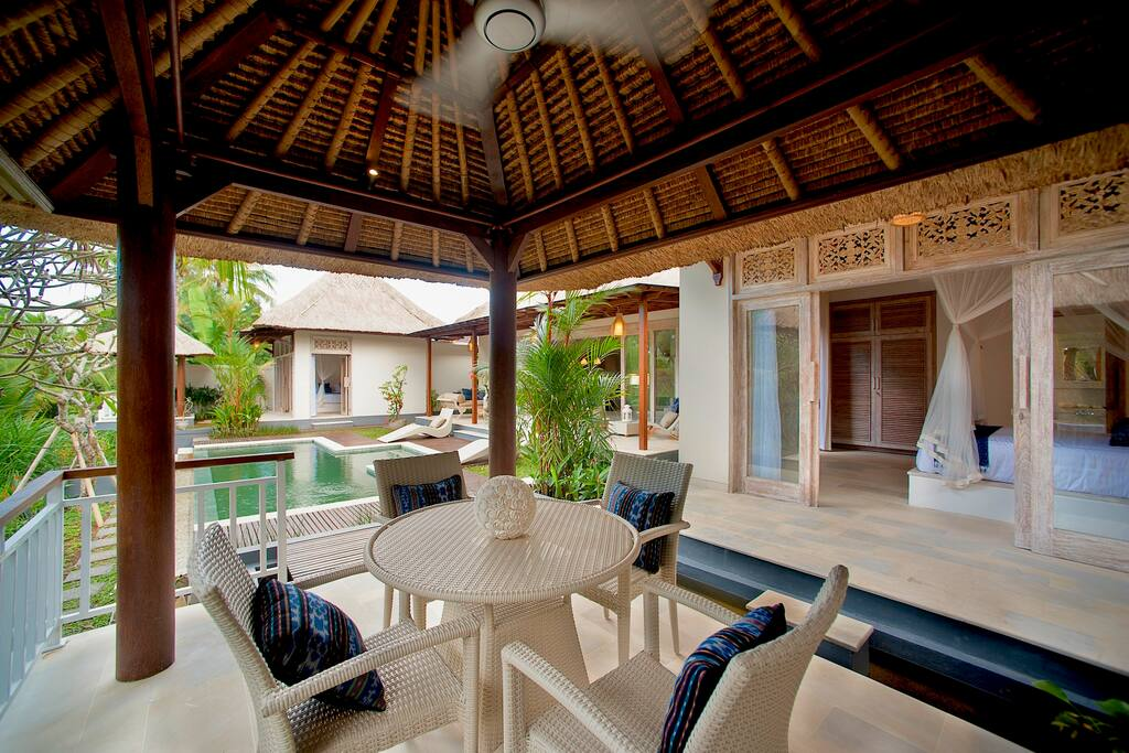 View from outdoor dining to villa