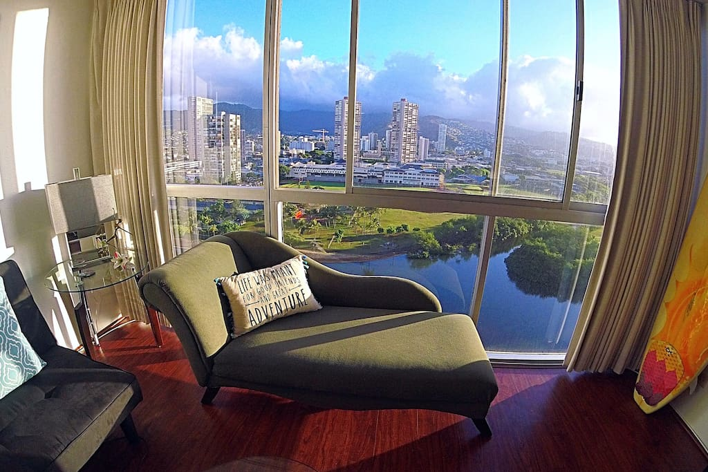 View from the living room towards the Mauka side (Hawaiian for Mountains) and Ala Wai Canal. :)