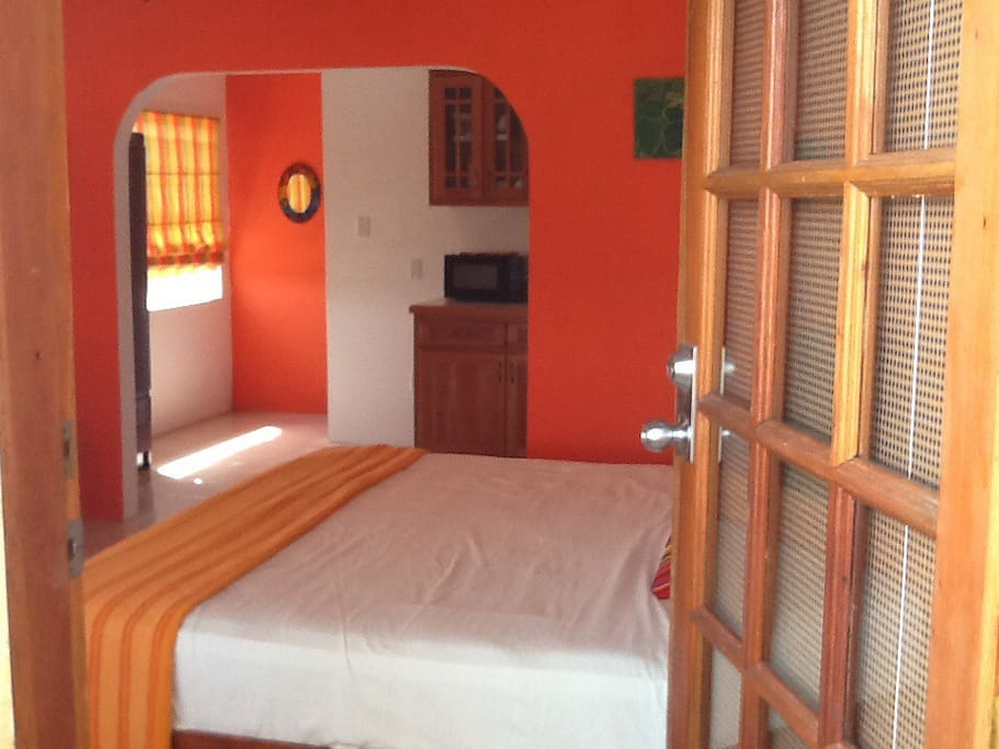 King size bed TV, AC, private bath