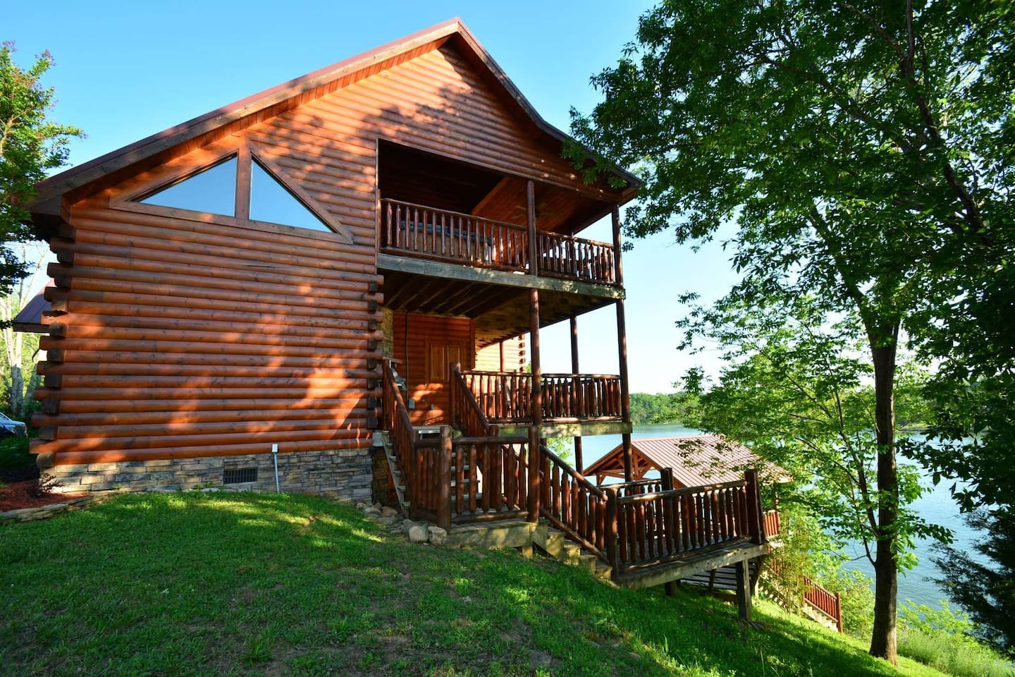 Two balconies for you to enjoy the great view of the lake and steps that lead down to the Gazebo.