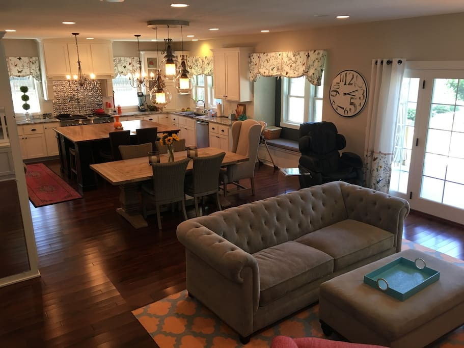 Great room on main floor with large kitchen.