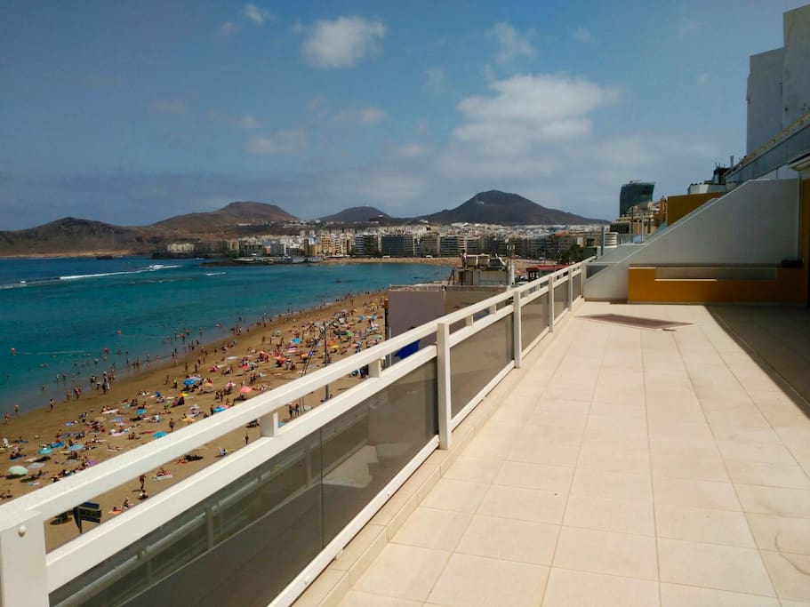 View of the beach from the terrace