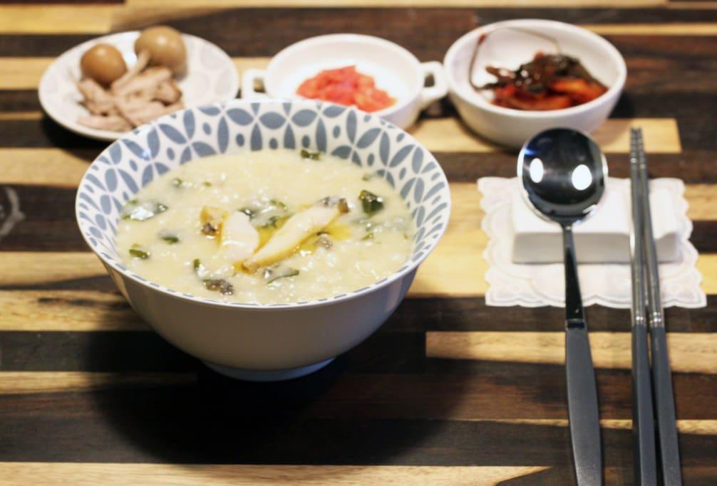 조식(전복죽, 떡만두국, 소라죽 등 한식)