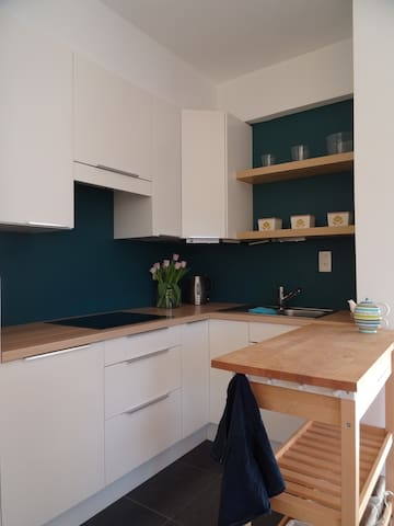 Ingerichte keuken met combi-oven, elektrisch fornuis, koelkast, diepvriezer, waterkoker, koffieapparaat,...