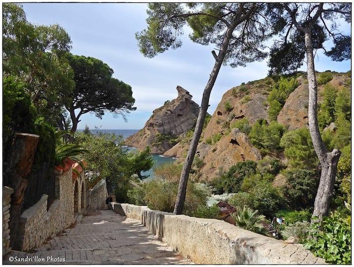 La Campagne Grant T2 avec terrasse et vue sur mer