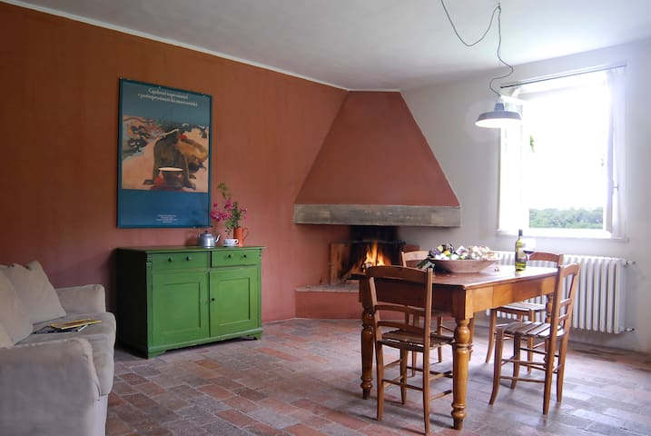 House with fireplace on organic farm