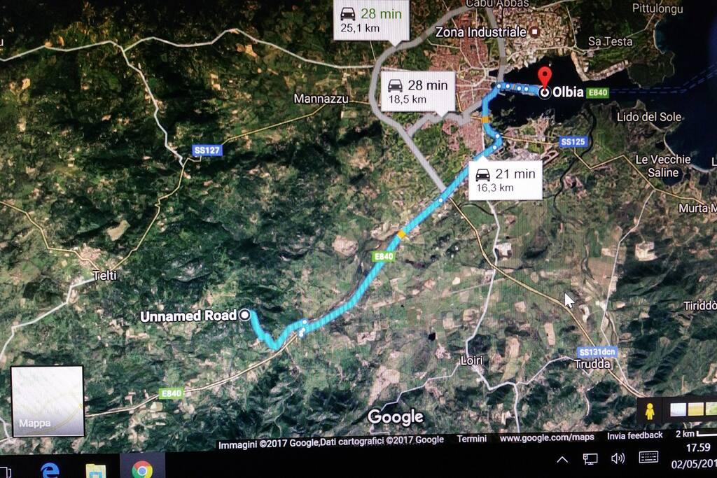 distanza casa -porto di Olbia
