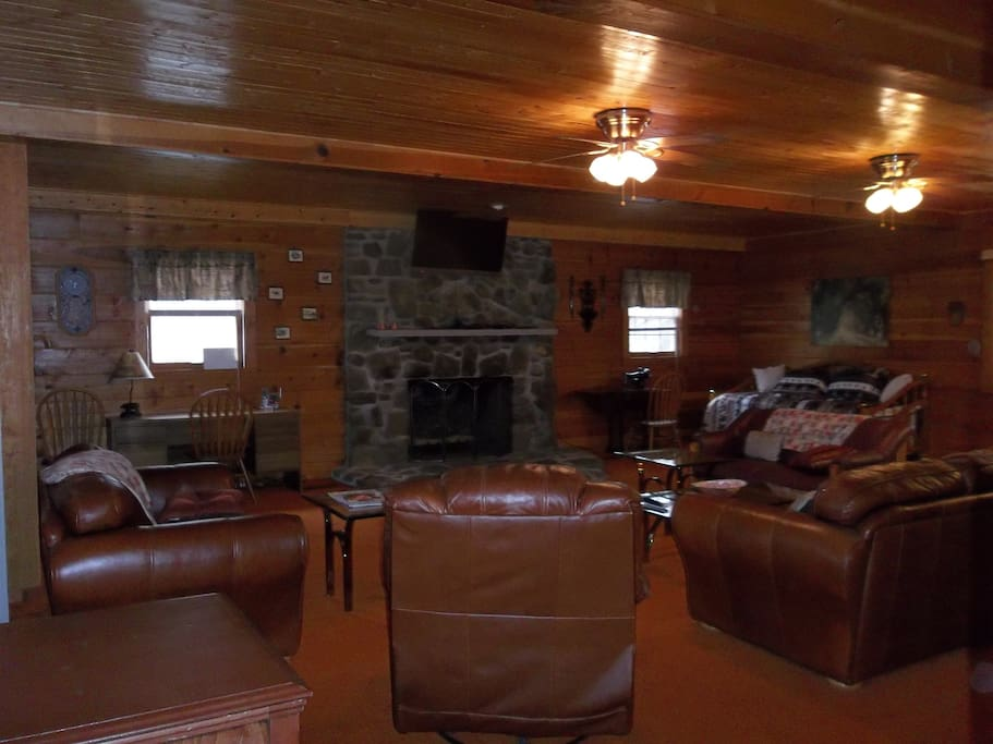 Plenty of seating and gas fireplace