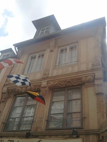 Façade du XVème siècle en bois sculpté et classée aux monuments historiques.