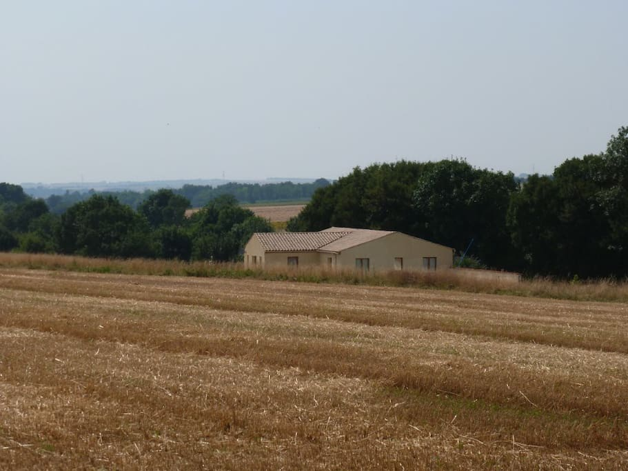 The villa is surrounded by open countryside