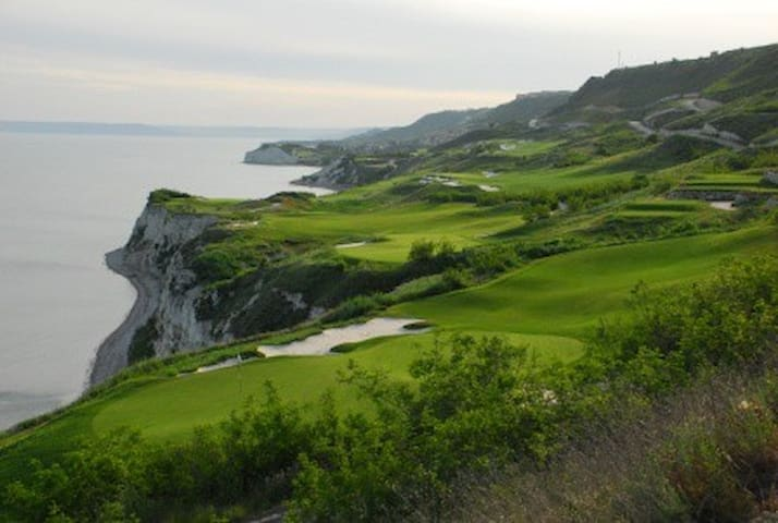 Thracian Cliffs Golf & Spa Resort. Five minute walk from the apartment.