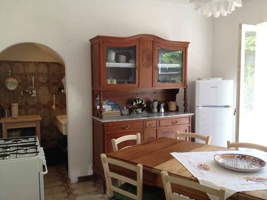 kitchenette and dining room