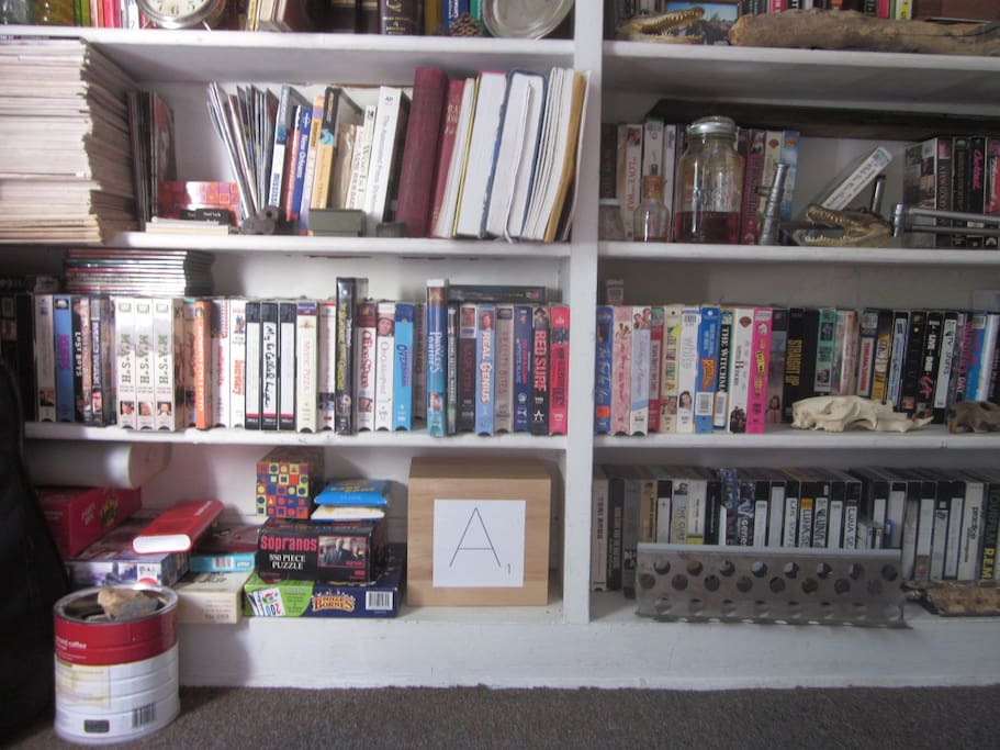 Plenty of games and movies, as long as you are cool with VHS or DVDs on an old tv, as there is no cable. :)