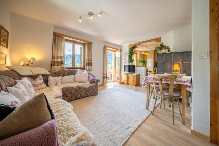 2-Zimmerwohnung im Bergdorf Vnà mit Aussicht