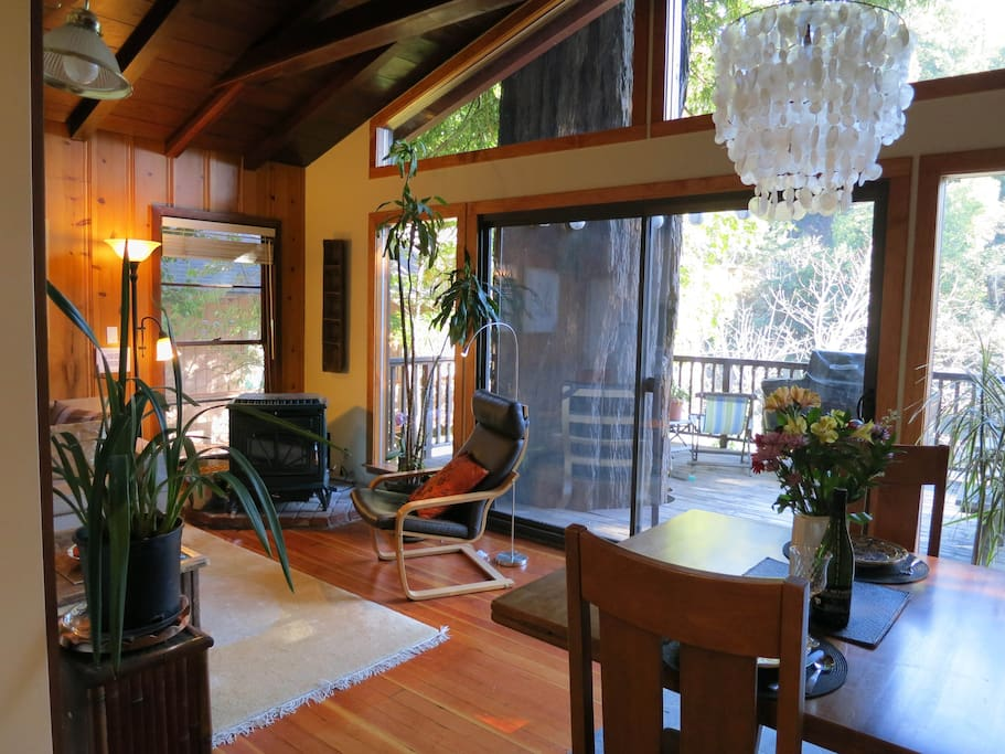 Living/dining area w/pellet stove and wonderful views