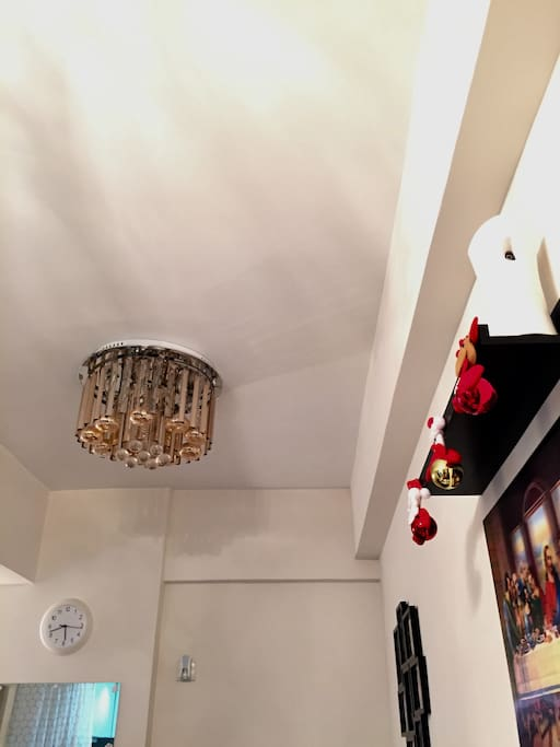 Ceiling and chandelier of living area