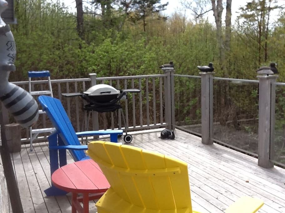 Spacious front deck sits about 8 feet off the ground with panoramic view of the Northumberland Straight-Orwell Cove.  5 minute walk to red sand beach, perfect for walking, exploring, sitting.  Warmest water on the Island.