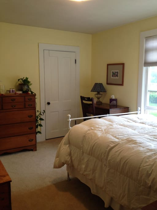 Double bed in recently remodeled bedroom