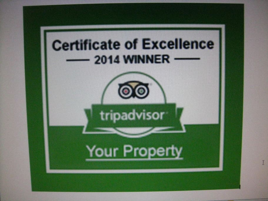 WINNER of TripAdvisor CERTIFICATE OF EXCELLENCE !!!