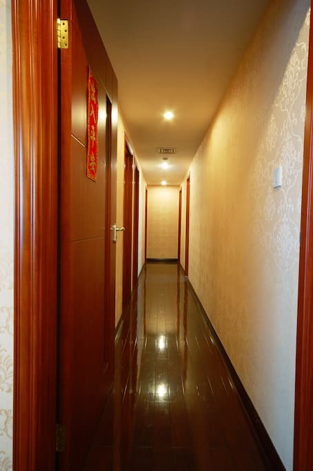 The hallway has a soundproof door that can keep a quiet environment for your good sleep.