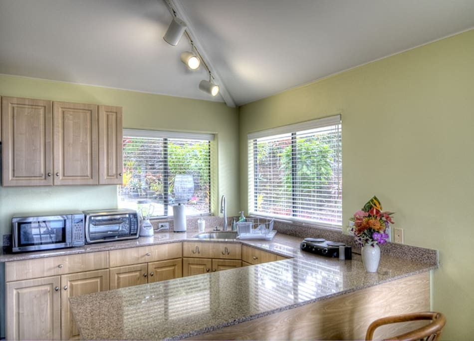 The Kitchen features a Microwave, Toaster Oven, Hot Plate and Refrigerator
