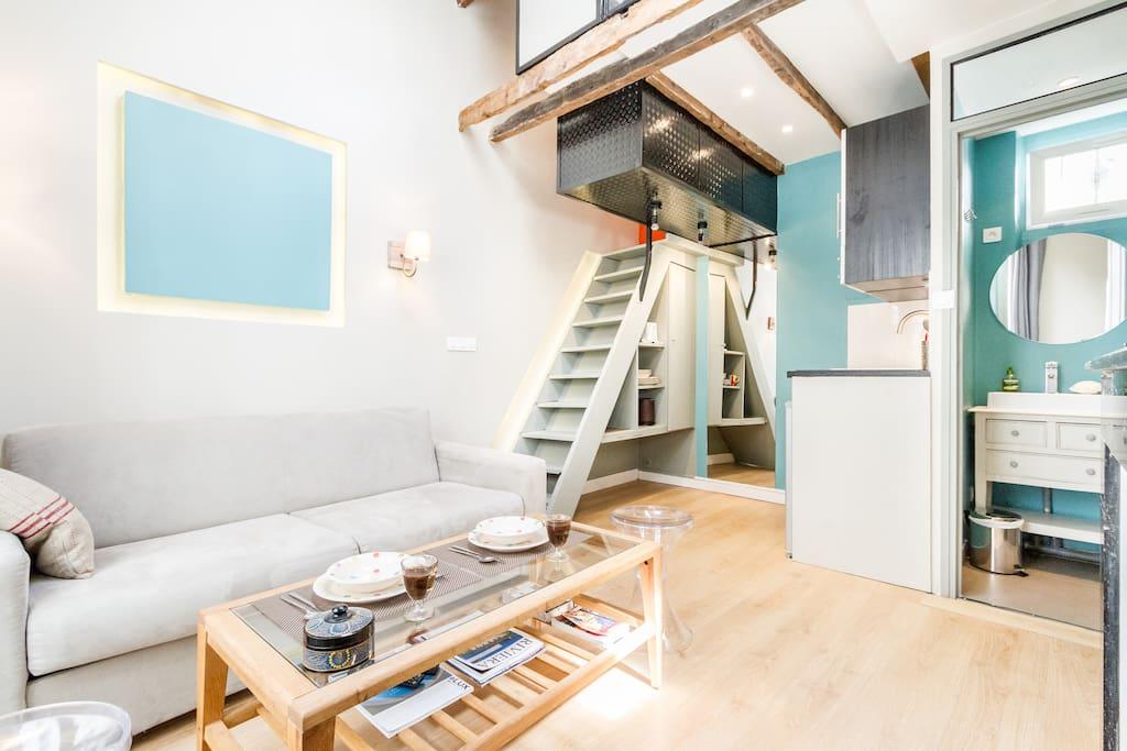 1br brand new design eiffel orsay appartementen te huur for Design appartement frankrijk