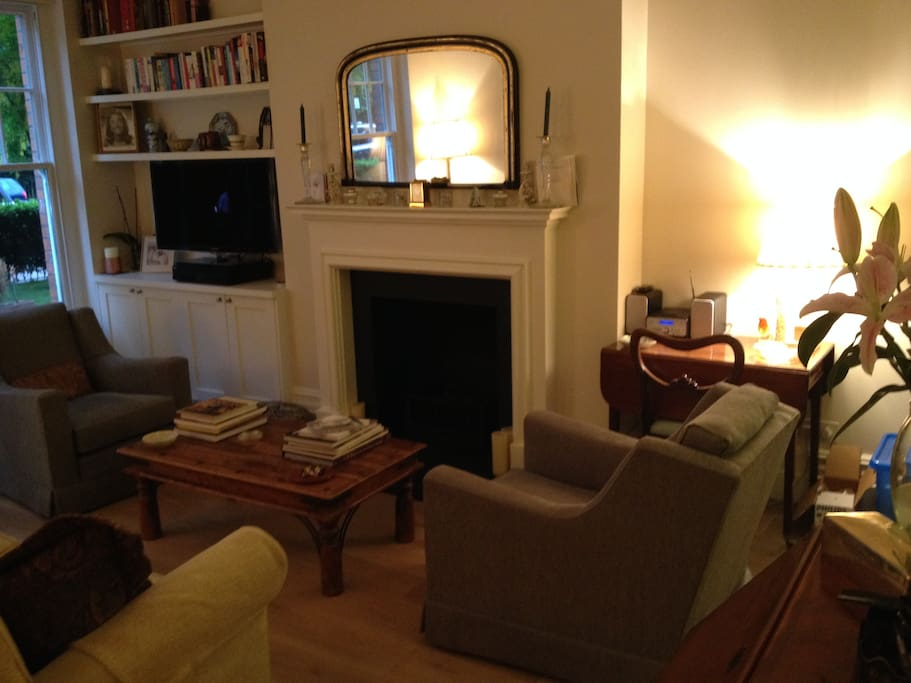 Open plan living room with coal gas fire