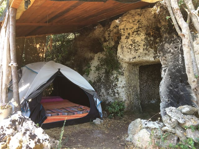 Unique stay in a comfortable tent & ancient cave!