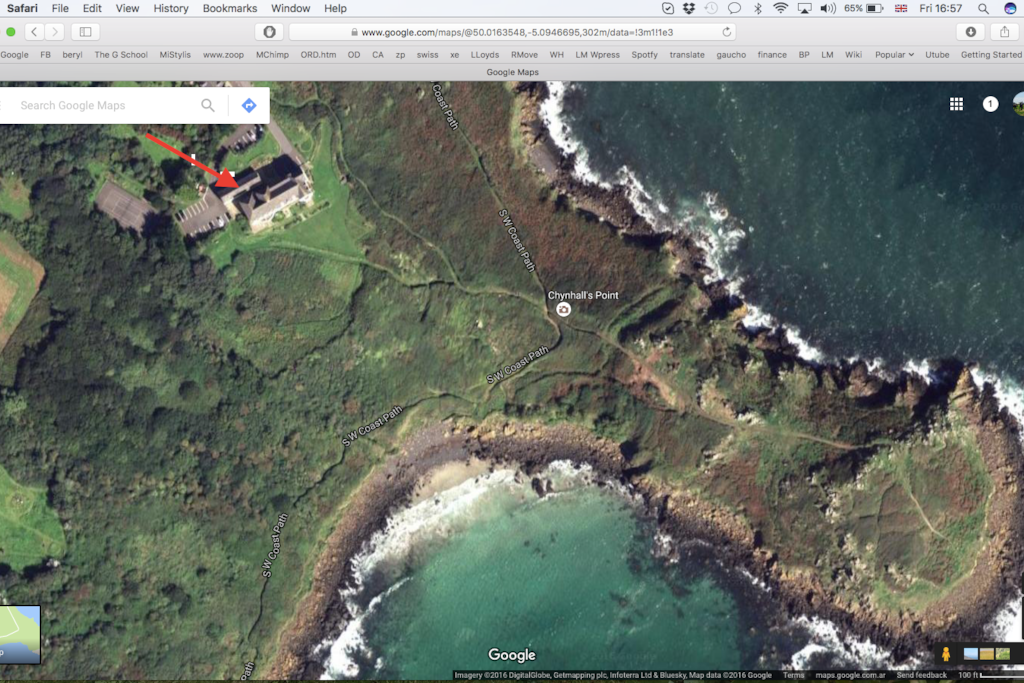 Exact location of 19 Headlands. SW Coastal Path passes by just yards from the cottage.