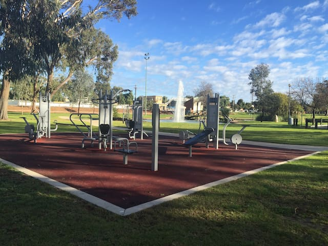 Riverside Park get fit while the kids play.