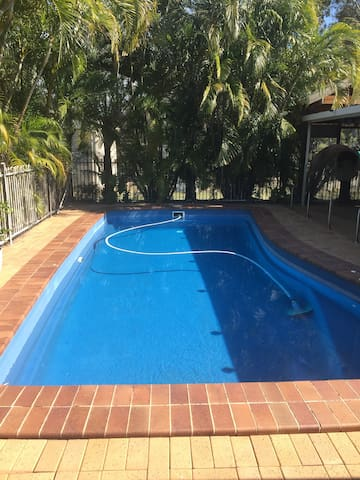 Swimming pool attached to our house 40m away from cabin