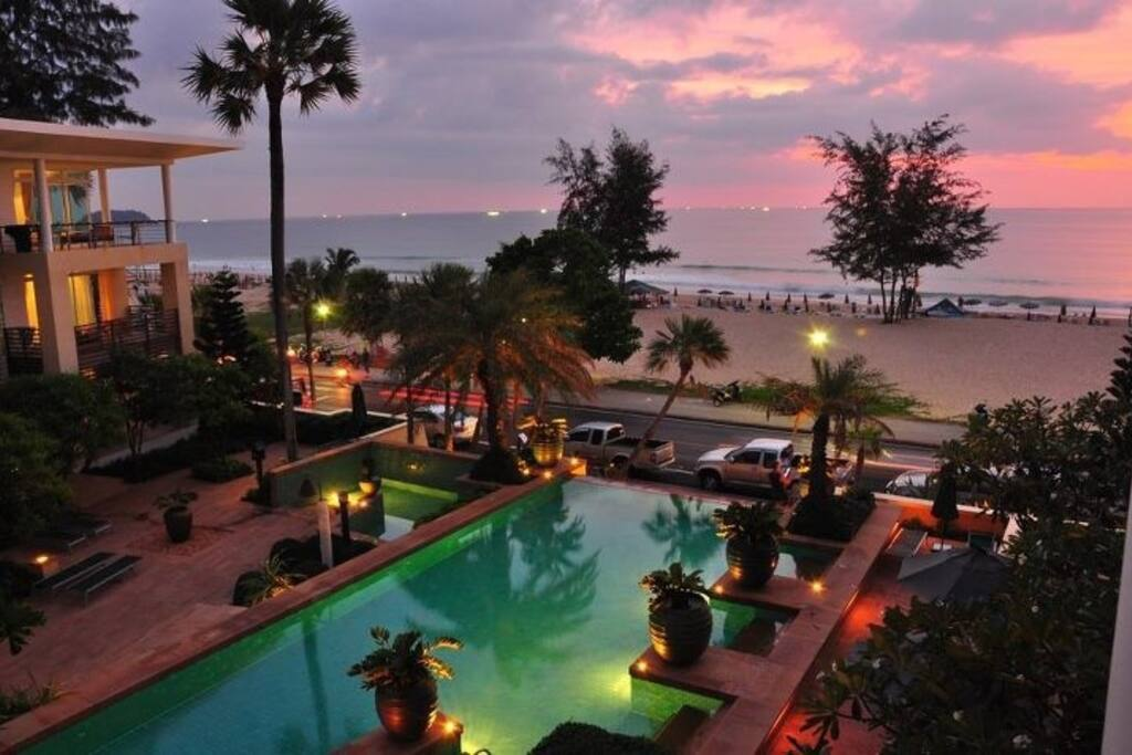 rim flow pool overlooking Karon beach private pool for residence only ( that's you) just a step from your balcony