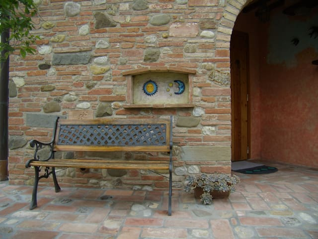 Bench in front of the entrance