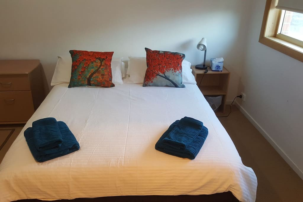 Double bed with 4 pillows and 2 cushions, bedside table and lamp. Towels on bed
