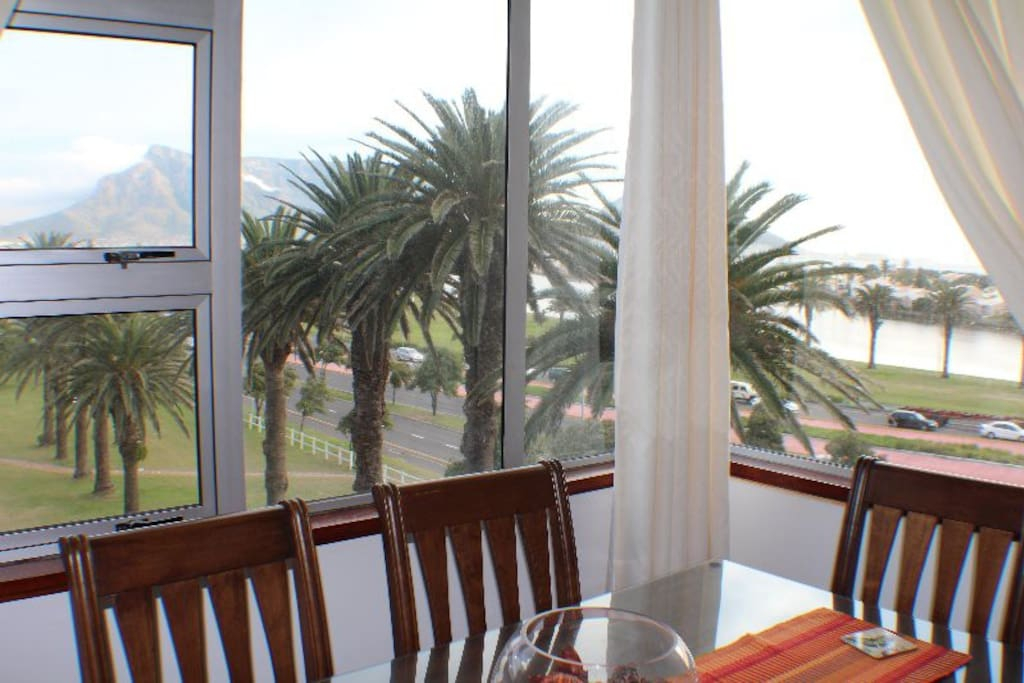 Views of Table  Mountain, lagoon and ocean from the lounge