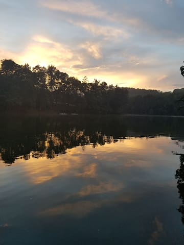 Sunsets over the lake-View from our backyard