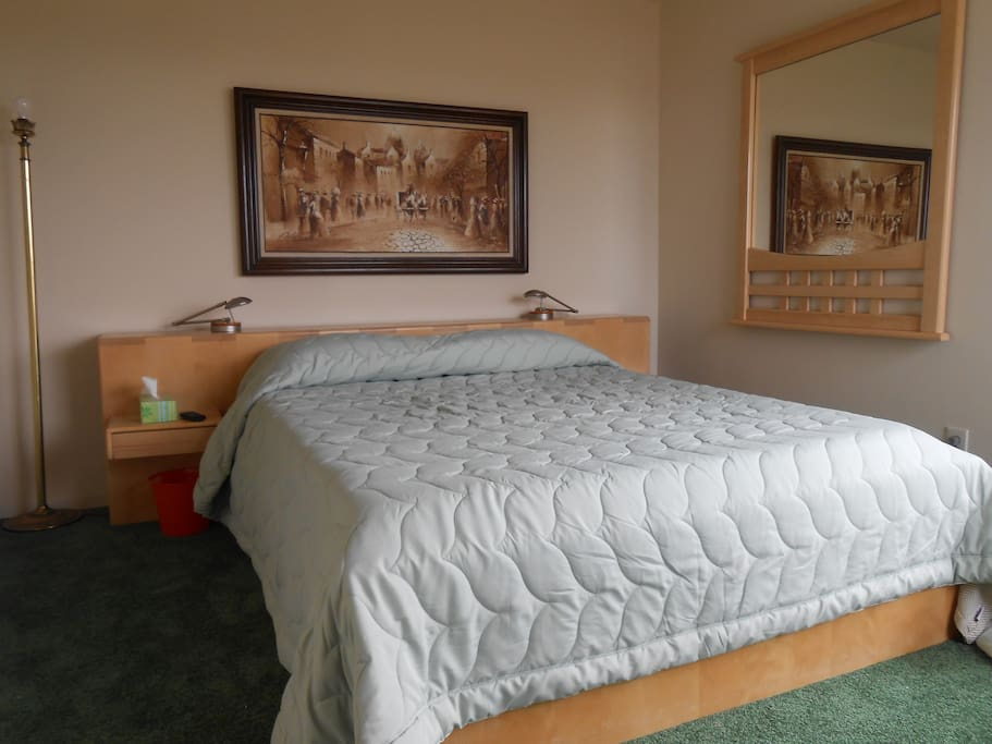 Beautiful sturdy Birch Queen size bed with memory foam mattress.