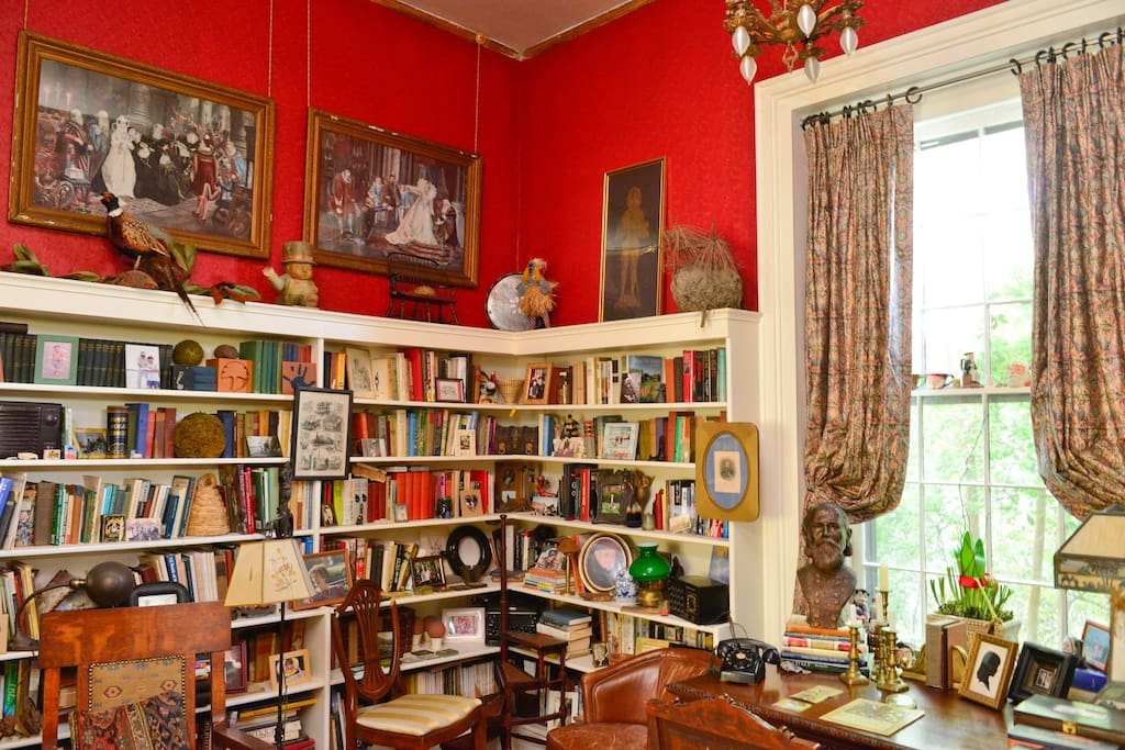 The adjoining library with book collection