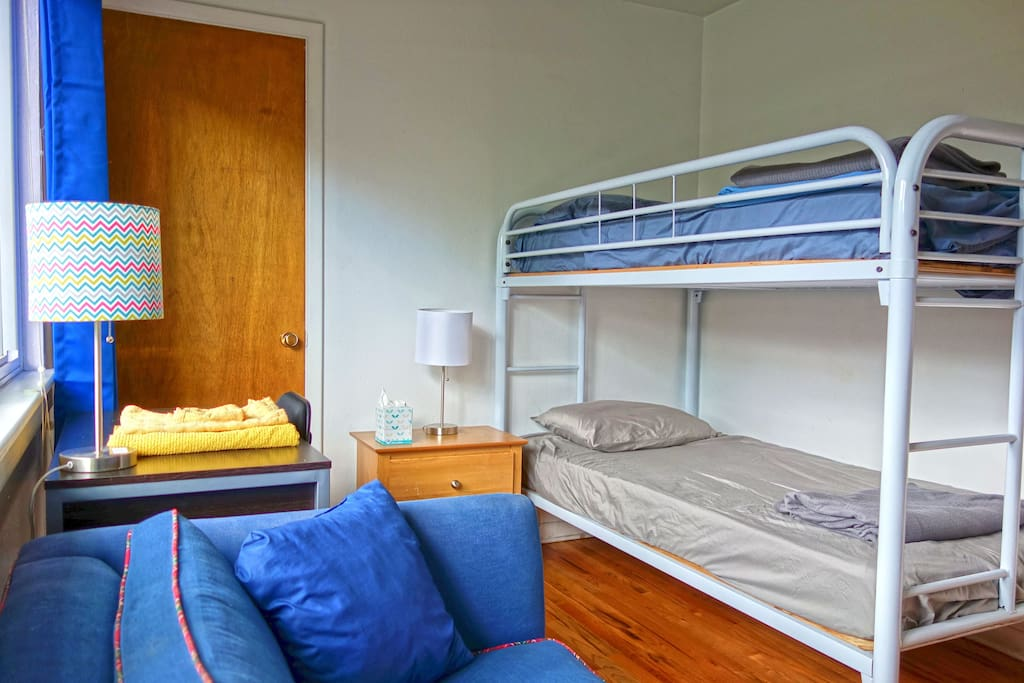 2nd bedroom with bunk beds.